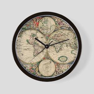 World map wall clocks cafepress antique world map wall clock gumiabroncs Choice Image