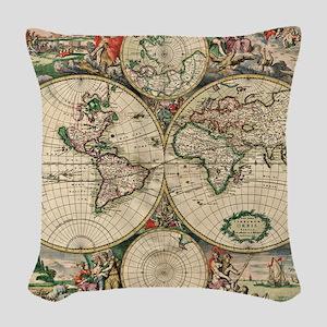 Antique World Map Woven Throw Pillow