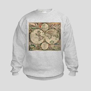 Antique World Map Kids Sweatshirt