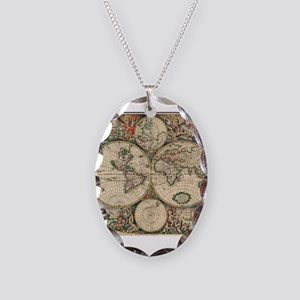 Antique World Map Necklace Oval Charm