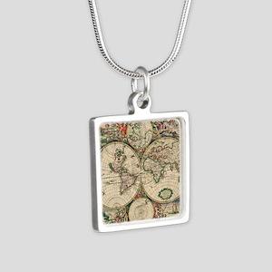 Antique World Map Necklaces