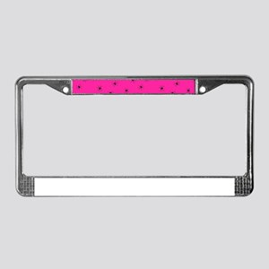 psychobilly pink spiders License Plate Frame