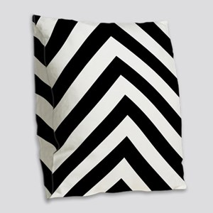 Black White Chevron Burlap Throw Pillow