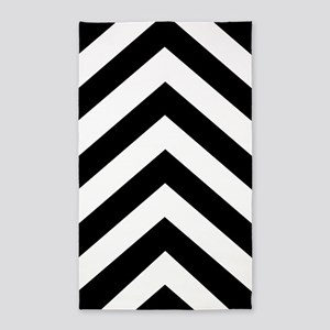 Black White Chevron 36x60 Area Rug