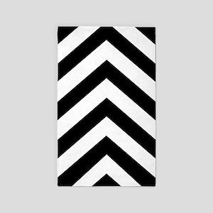 Black White Chevron 36x60 Area Rug