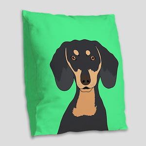 Dachshund Burlap Throw Pillow