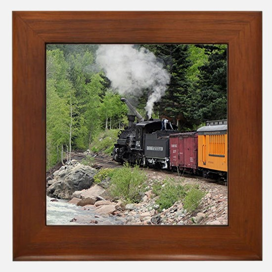 Steam train & river, Colorado Framed Tile