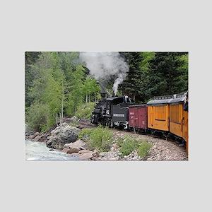 Steam train & river, Colorado Rectangle Magnet