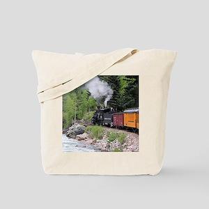 Steam train & river, Colorado Tote Bag