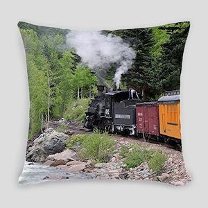Steam train & river, Colorado Everyday Pillow