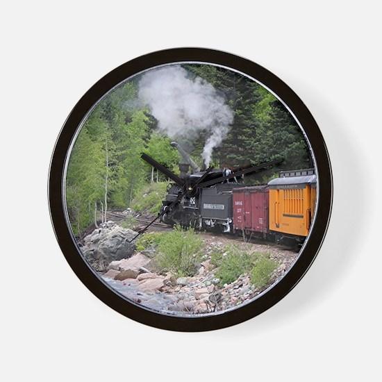 Steam train & river, Colorado Wall Clock