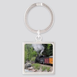 Steam train & river, Colorado Square Keychain
