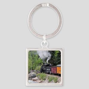 Steam train & river, Colorado Square Keychain