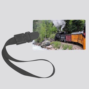 Steam train & river, Colorado Large Luggage Tag
