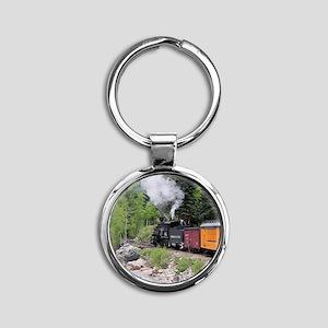 Steam train & river, Colorado Round Keychain