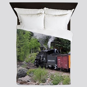 Steam train & river, Colorado Queen Duvet
