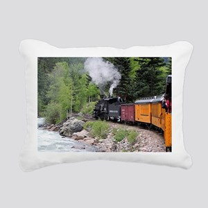 Steam train & river, Col Rectangular Canvas Pillow