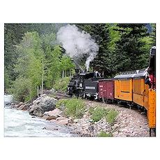 Steam train & river, Colorado Poster