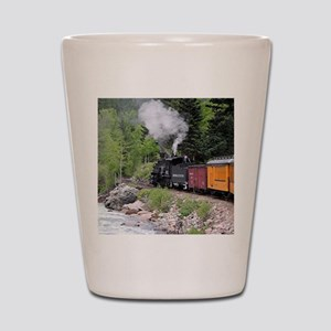 Steam train & river, Colorado Shot Glass