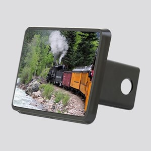 Steam train & river, Color Rectangular Hitch Cover