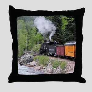 Steam train & river, Colorado Throw Pillow