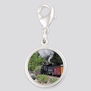 Steam train & river, Colorado Silver Round Charm