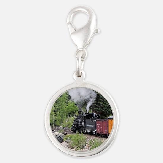Steam train & river, Colorado Silver Round Charm