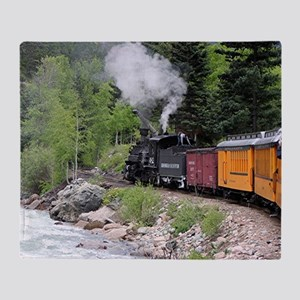 Steam train & river, Colorado Throw Blanket
