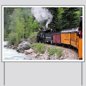 Steam train & river, Colorado Yard Sign