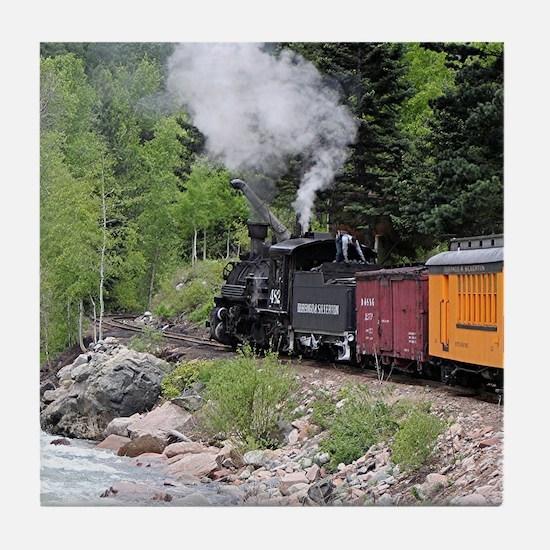 Steam train & river, Colorado Tile Coaster