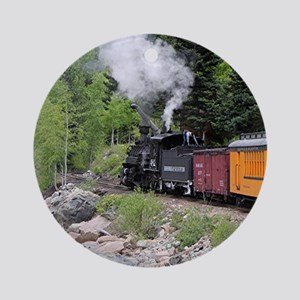 Steam train & river, Colorado Round Ornament