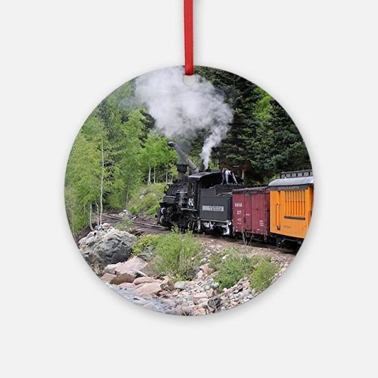 Steam train & river, Colorado Round Ornament
