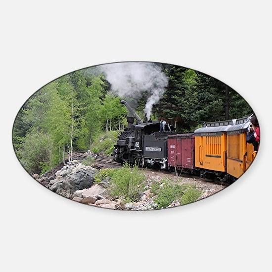 Steam train & river, Colorado Sticker (Oval)