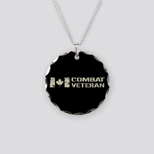 Canadian Flag: Combat Vetera Necklace Circle Charm