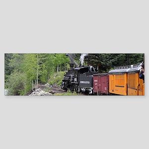 Steam train & river, Colorado Bumper Sticker