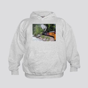 Steam train & river, Colorado Kids Hoodie