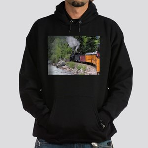 Steam train & river, Colorado Hoodie (dark)
