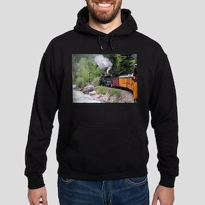 Steam train & river, Colorado Hoodie (dark)