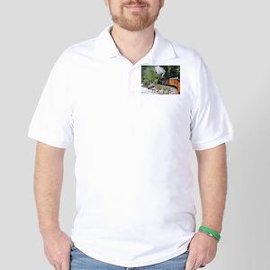 Steam train & river, Colorado Golf Shirt
