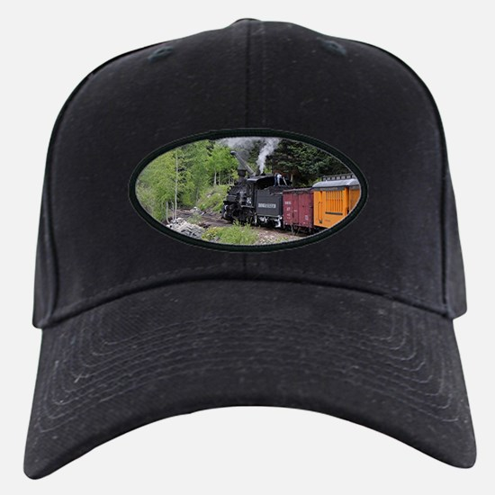 Steam train & river, Colorado Baseball Hat