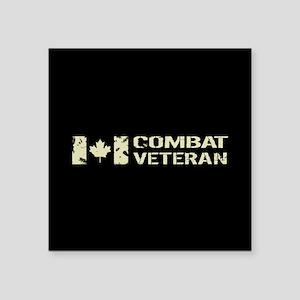 "Canadian Flag: Combat Veter Square Sticker 3"" x 3"""