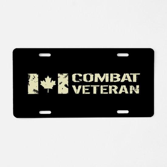 Canadian Flag: Combat Veter Aluminum License Plate
