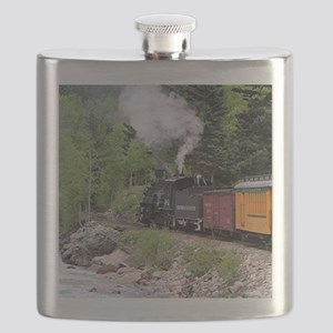 Steam train & river, Colorado Flask