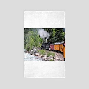 Steam train & river, Colorado Area Rug