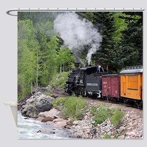 Steam train & river, Colorado Shower Curtain