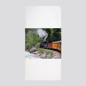 Steam train & river, Colorado Beach Towel