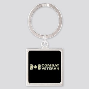 Canadian Flag: Combat Veteran Square Keychain