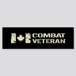 Canadian Flag: Combat Veteran Sticker (Bumper)