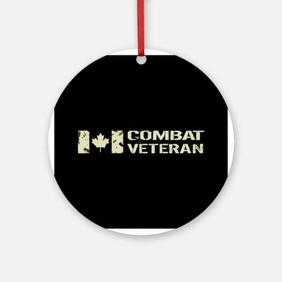 Canadian Flag: Combat Veteran Round Ornament