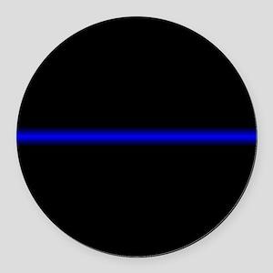 Thin Blue Line Round Car Magnet